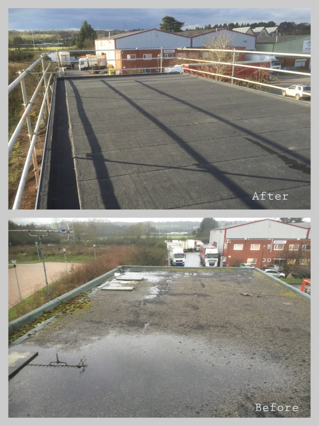 Before and after of new commercial flat roof on a factory in Worcestershire. Wyvern Roofing Leominster