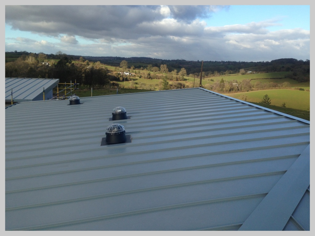 Euro Clad Single Seam new flat roof for a commercial building in Herefordshire