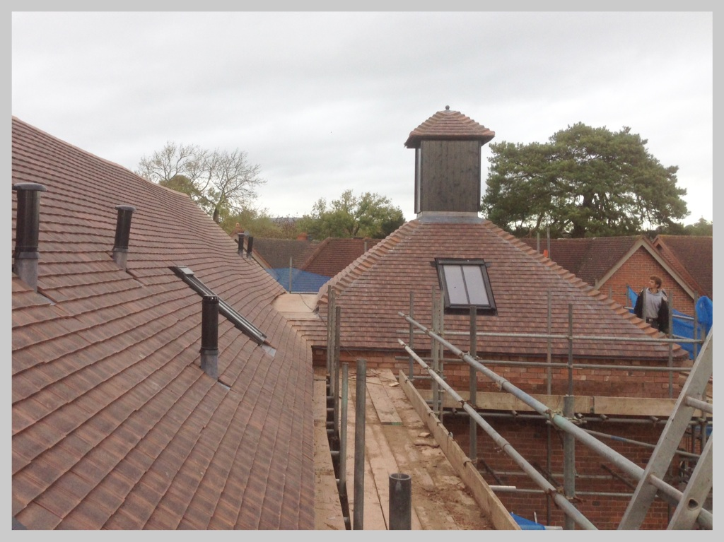 Newly completed tiled roof